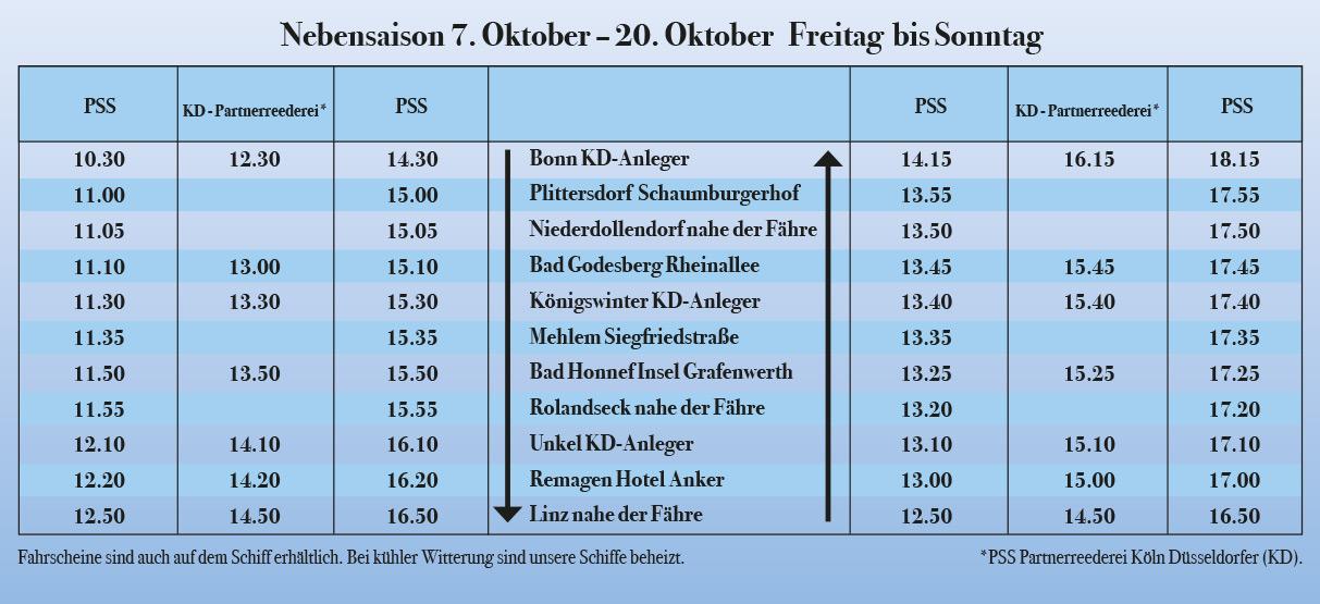 Fahrplan Nebensaisin Personenschifffahrt Siebengebirge
